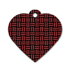 Woven1 Black Marble & Red Denim (r) Dog Tag Heart (two Sides)