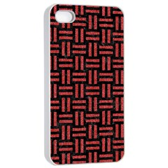 Woven1 Black Marble & Red Denim (r) Apple Iphone 4/4s Seamless Case (white) by trendistuff