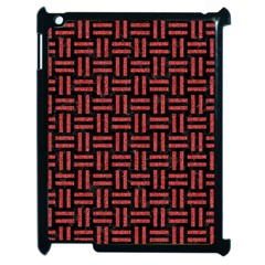 Woven1 Black Marble & Red Denim (r) Apple Ipad 2 Case (black) by trendistuff