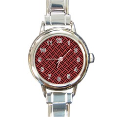 Woven2 Black Marble & Red Denim Round Italian Charm Watch by trendistuff