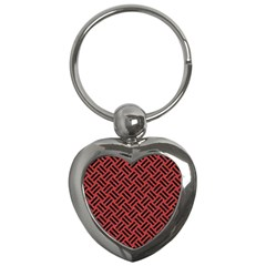 Woven2 Black Marble & Red Denim Key Chains (heart)  by trendistuff