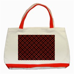 Woven2 Black Marble & Red Denim (r) Classic Tote Bag (red) by trendistuff