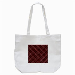 Woven2 Black Marble & Red Denim (r) Tote Bag (white) by trendistuff