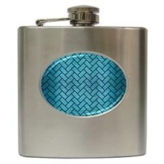 Brick2 Black Marble & Teal Brushed Metal Hip Flask (6 Oz) by trendistuff