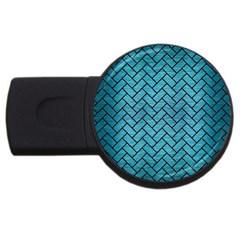 Brick2 Black Marble & Teal Brushed Metal Usb Flash Drive Round (2 Gb) by trendistuff