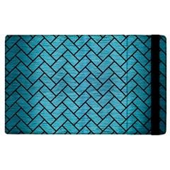 Brick2 Black Marble & Teal Brushed Metal Apple Ipad 3/4 Flip Case by trendistuff