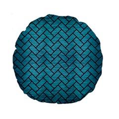 Brick2 Black Marble & Teal Brushed Metal Standard 15  Premium Round Cushions by trendistuff