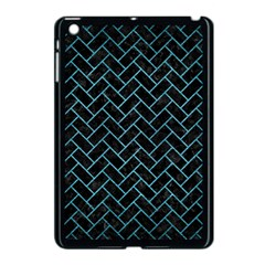 Brick2 Black Marble & Teal Brushed Metal (r) Apple Ipad Mini Case (black) by trendistuff