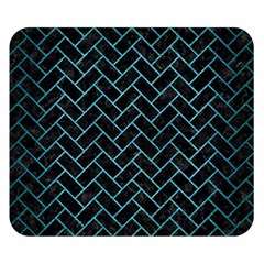 Brick2 Black Marble & Teal Brushed Metal (r) Double Sided Flano Blanket (small)  by trendistuff