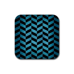 Chevron1 Black Marble & Teal Brushed Metal Rubber Square Coaster (4 Pack)  by trendistuff