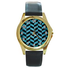 Chevron1 Black Marble & Teal Brushed Metal Round Gold Metal Watch by trendistuff