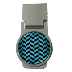 Chevron1 Black Marble & Teal Brushed Metal Money Clips (round)  by trendistuff