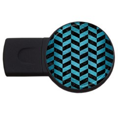 Chevron1 Black Marble & Teal Brushed Metal Usb Flash Drive Round (4 Gb) by trendistuff