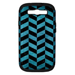 Chevron1 Black Marble & Teal Brushed Metal Samsung Galaxy S Iii Hardshell Case (pc+silicone) by trendistuff