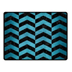 Chevron2 Black Marble & Teal Brushed Metal Double Sided Fleece Blanket (small)  by trendistuff