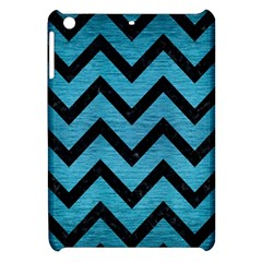 Chevron9 Black Marble & Teal Brushed Metal Apple Ipad Mini Hardshell Case by trendistuff