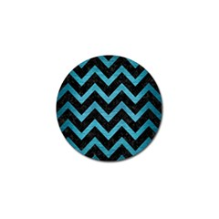 Chevron9 Black Marble & Teal Brushed Metal (r) Golf Ball Marker by trendistuff