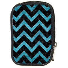 Chevron9 Black Marble & Teal Brushed Metal (r) Compact Camera Cases by trendistuff