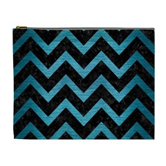Chevron9 Black Marble & Teal Brushed Metal (r) Cosmetic Bag (xl) by trendistuff