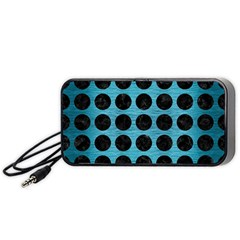 Circles1 Black Marble & Teal Brushed Metal Portable Speaker by trendistuff