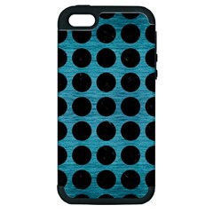 Circles1 Black Marble & Teal Brushed Metal Apple Iphone 5 Hardshell Case (pc+silicone) by trendistuff