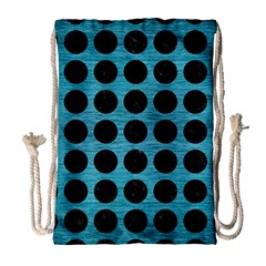 Circles1 Black Marble & Teal Brushed Metal Drawstring Bag (large) by trendistuff