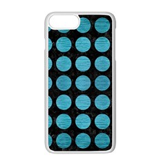 Circles1 Black Marble & Teal Brushed Metal (r) Apple Iphone 8 Plus Seamless Case (white)