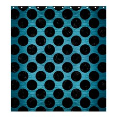 Circles2 Black Marble & Teal Brushed Metal Shower Curtain 66  X 72  (large)  by trendistuff