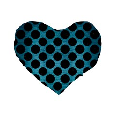 Circles2 Black Marble & Teal Brushed Metal Standard 16  Premium Flano Heart Shape Cushions by trendistuff