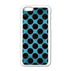 Circles2 Black Marble & Teal Brushed Metal Apple Iphone 6/6s White Enamel Case by trendistuff