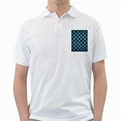 Circles2 Black Marble & Teal Brushed Metal (r) Golf Shirts
