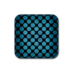 Circles2 Black Marble & Teal Brushed Metal (r) Rubber Square Coaster (4 Pack)  by trendistuff