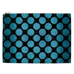 Circles2 Black Marble & Teal Brushed Metal (r) Cosmetic Bag (xxl)  by trendistuff
