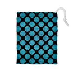 Circles2 Black Marble & Teal Brushed Metal (r) Drawstring Pouches (large)  by trendistuff