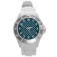 Circles3 Black Marble & Teal Brushed Metal Round Plastic Sport Watch (l) by trendistuff