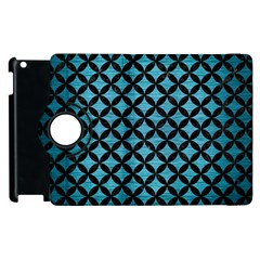 Circles3 Black Marble & Teal Brushed Metal Apple Ipad 2 Flip 360 Case by trendistuff
