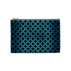 Circles3 Black Marble & Teal Brushed Metal (r) Cosmetic Bag (medium)