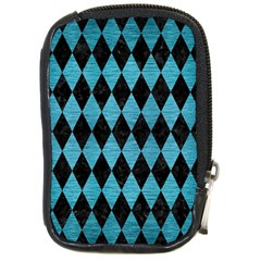Diamond1 Black Marble & Teal Brushed Metal Compact Camera Cases by trendistuff