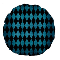 Diamond1 Black Marble & Teal Brushed Metal Large 18  Premium Flano Round Cushions by trendistuff