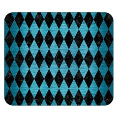 Diamond1 Black Marble & Teal Brushed Metal Double Sided Flano Blanket (small)  by trendistuff