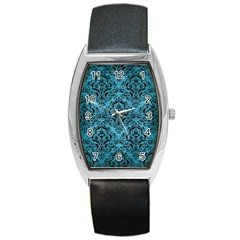 Damask1 Black Marble & Teal Brushed Metal Barrel Style Metal Watch by trendistuff