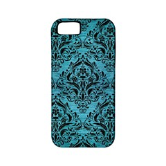 Damask1 Black Marble & Teal Brushed Metal Apple Iphone 5 Classic Hardshell Case (pc+silicone) by trendistuff
