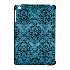 Damask1 Black Marble & Teal Brushed Metal Apple Ipad Mini Hardshell Case (compatible With Smart Cover) by trendistuff