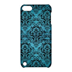 Damask1 Black Marble & Teal Brushed Metal Apple Ipod Touch 5 Hardshell Case With Stand by trendistuff