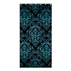 Damask1 Black Marble & Teal Brushed Metal (r) Shower Curtain 36  X 72  (stall)  by trendistuff