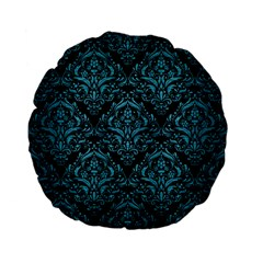 Damask1 Black Marble & Teal Brushed Metal (r) Standard 15  Premium Flano Round Cushions by trendistuff