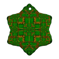 Golden Green And  Sunshine Pop Art Ornament (snowflake) by pepitasart