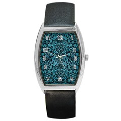 Damask2 Black Marble & Teal Brushed Metal Barrel Style Metal Watch by trendistuff