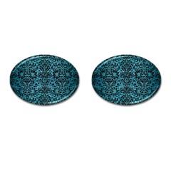 Damask2 Black Marble & Teal Brushed Metal Cufflinks (oval) by trendistuff
