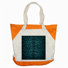 Damask2 Black Marble & Teal Brushed Metal Accent Tote Bag by trendistuff